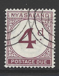 Nyasaland SG D4, 1950 Postage Due 4d purple, KGVI Fine used