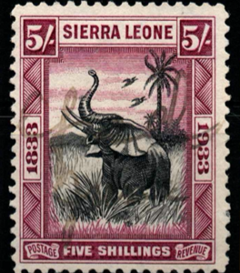 Sierra Leone, SG 178, the 1933 Abolition of Slavery 5 shillings, fine used,