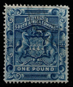 Rhodesia, SG 10, the 1892-1893 British South Africa Company £1.00, fine used.