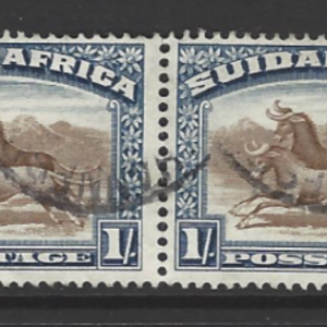South Africa. SG 36, the 1927-30 Wildebeest 1 shilling in pair, fine used,