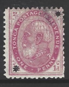 Tonga, SG 7, the 1891 1d with stars overprint, fine used,