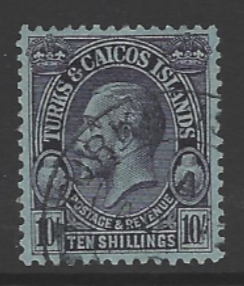 Turks + Caicos Islands, SG 186, the 1928 KG5 10 shillings, fine used,