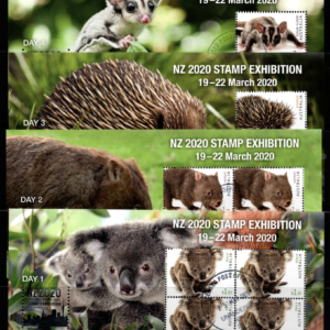 Australia, Set of 4 Mini Sheets, NZ 2020 Stamp Exhibition, 19-22nd March,