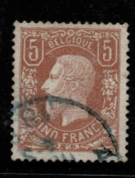 Belgium SG 57, the 1878 King Leopold II 5 francs yellow-brown, fine used