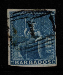 Barbados SG 3 Fine Used Stamps, Barbados Fine Used Stamps,