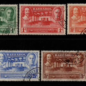 Barbados SG 257-261, KGVI Tercentenary set of 5,  Fine Used