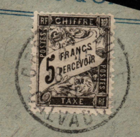 France. SG D295, the 1882 5f black Postage Due, fine used on piece.