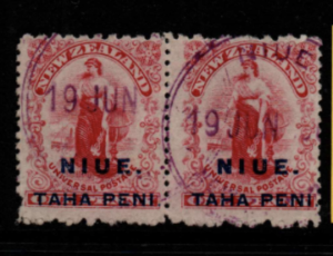 Niue SG 5 fine used, Variety: Broken foot to E in Niue (left stamp)
