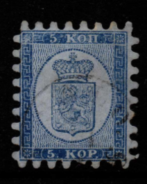 Finland SG 11, the 1860 5k Serpentine Roulette, fine used with all teeth.
