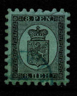 Finland SG 44, the 1866 8p Serpentine Roulette, fine used with all teeth.