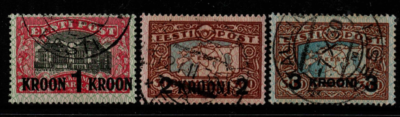 Estonia SG 88-90, the 1930 Surcharges set, fine used.